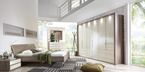 Schlafzimmer Modern Schranksystem Modern Loft Trüffeleiche Glas Magnolie
