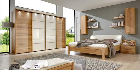 Schlafzimmer Klassisch Modern Toledo Eiche Teilmassiv Kunstleder Weiß Glas  Magnolie