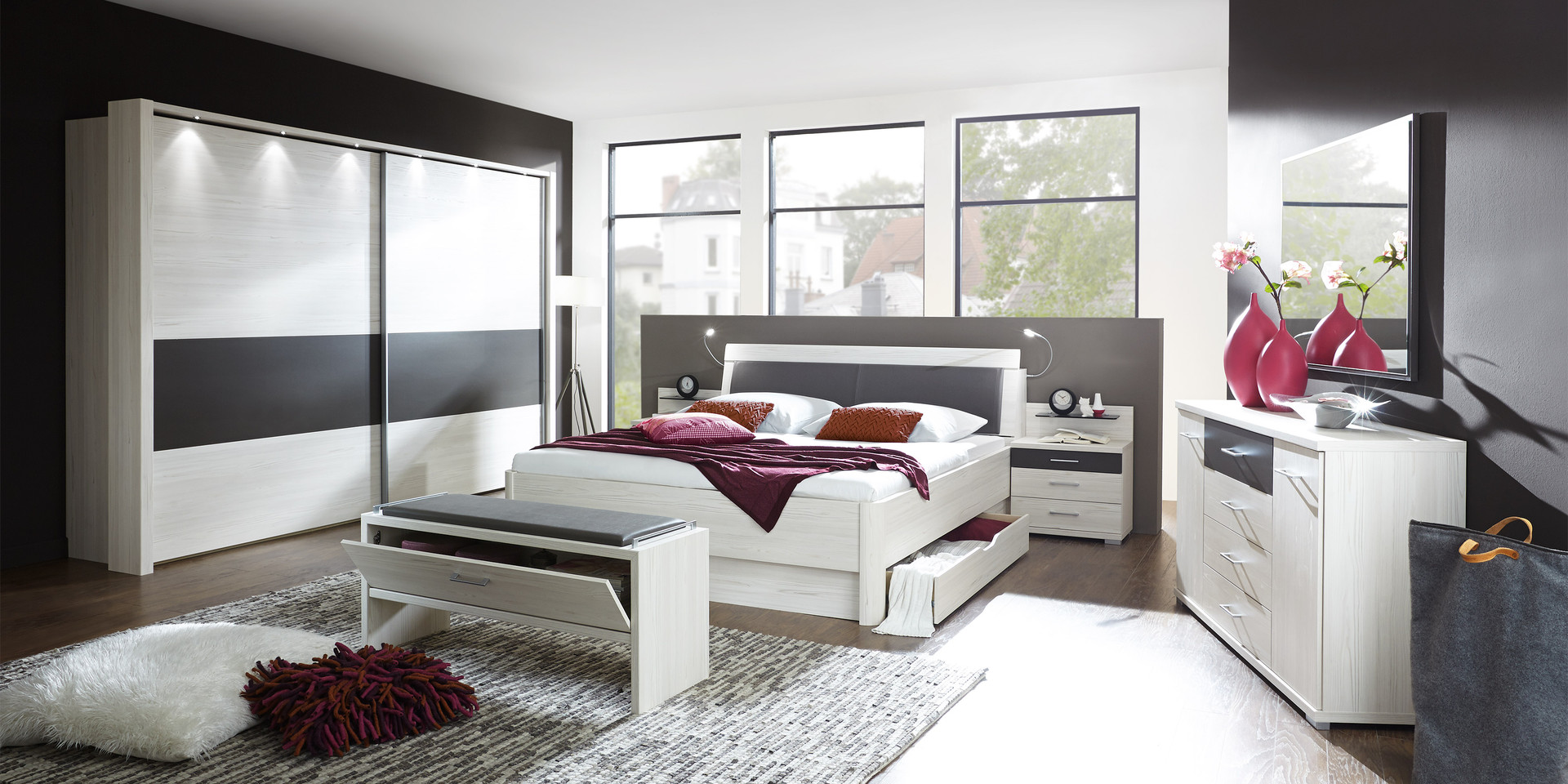 modernes schlafzimmer weiss. Black Bedroom Furniture Sets. Home Design Ideas