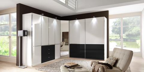 Schlafzimmer Modern Schranksystem Shanghai Alpinweiß Glass Weiß Glas Schwarz