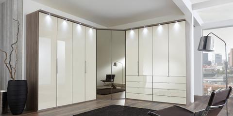 Schlafzimmer modern Schranksystem modern Loft Trüffeleiche-NB Glas ...