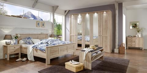 Schlafzimmer Klassisch Bergamo Santana Eiche Kristallspiegel Beimöbel
