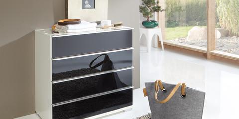 Schlafzimmer Modern Schranksystem Modern Loft Alpinweiß Glas Schwarz Kommode