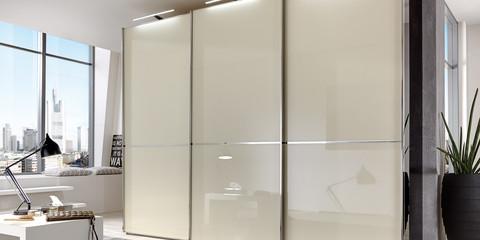 Schlafzimmer Modern Schranksystem Shanghai Schwarz Glas Magnolie Glas  Schwarz