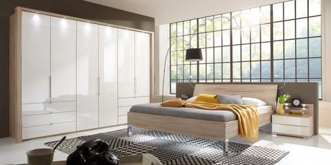Schlafzimmer Modern Schranksystem Modern Loft Eiche Sägerau Glas Weiß